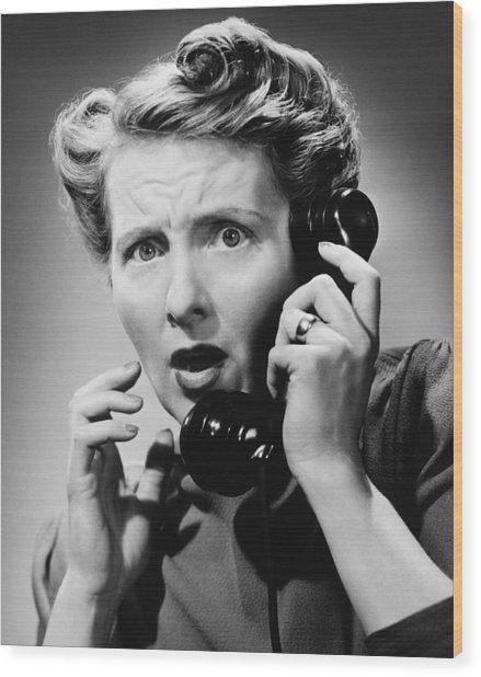 Terrified Woman Talking On Phone, (b&w), Portrait Wood Print by George Marks