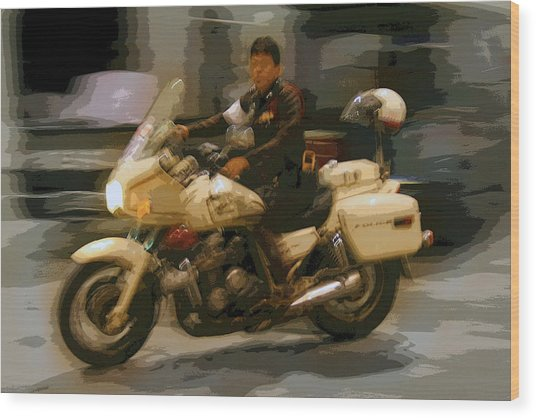 Thai Motorbike Police Wood Print by Kantilal Patel