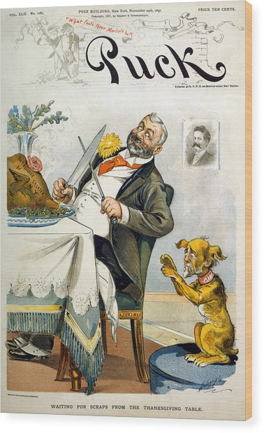 Thanksgiving, Puck Magazine Cover Wood Print by Everett