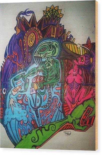 The Alien Post Man Wood Print by Ragdoll Washburn