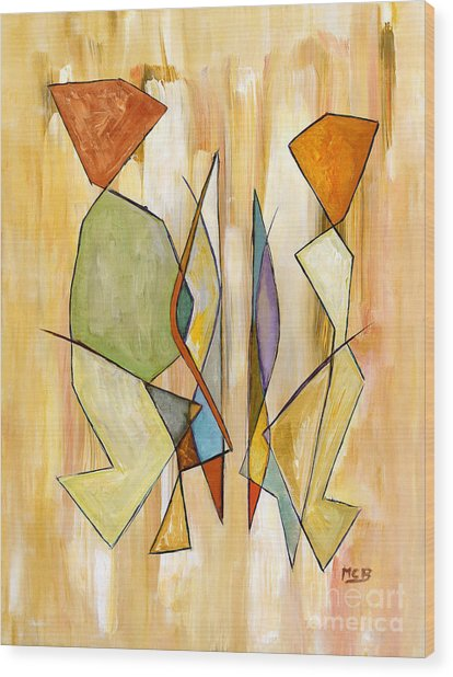 Modern Art Beige Orange Green Abstract Color Blocks Barcelonian Couple Wood Print by Marie Christine Belkadi