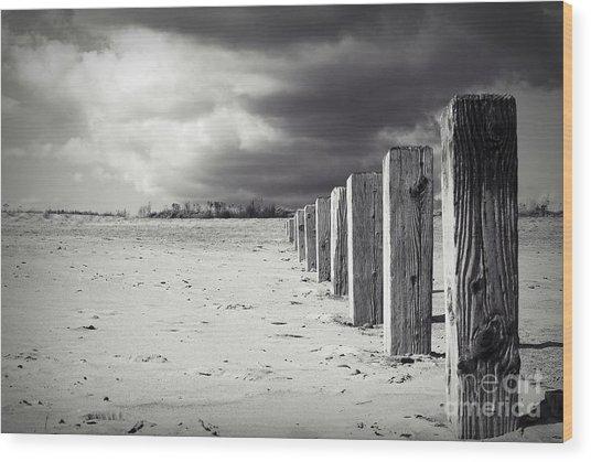 The Beach Monochrome Wood Print by Stephen Clarridge