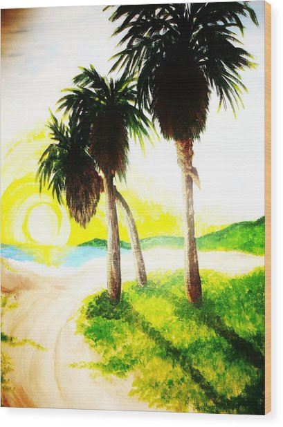 The Beach Wood Print by Ragdoll Washburn