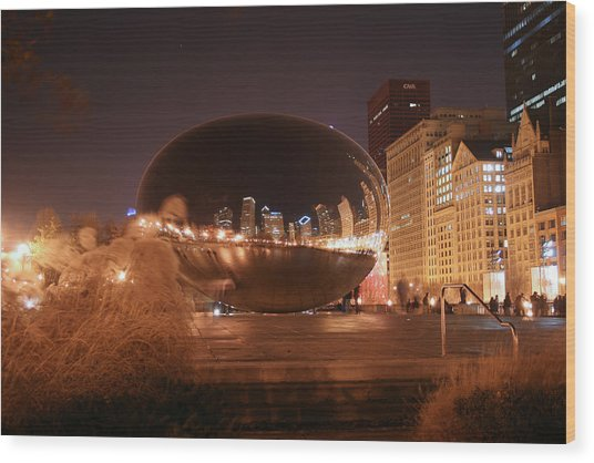 The Bean On A Winter Night Wood Print