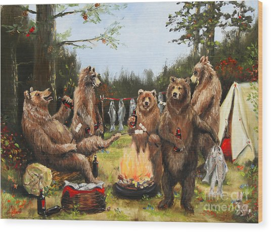 The Bear Party Wood Print by Stella Violano