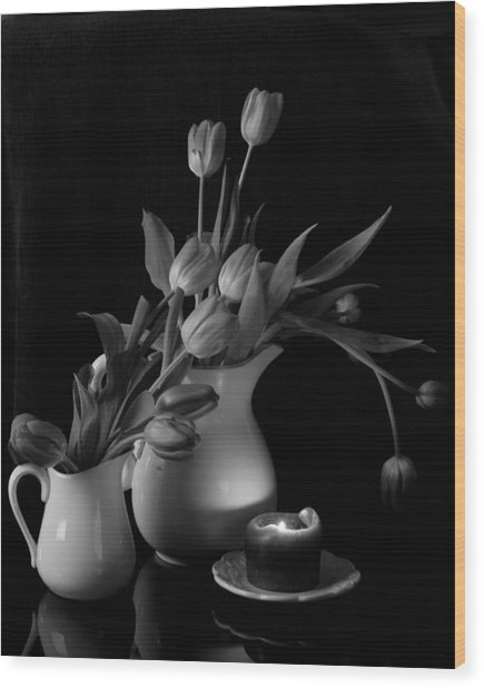 The Beauty Of Tulips In Black And White Wood Print