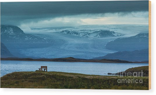 The Bench And The Glacier Wood Print