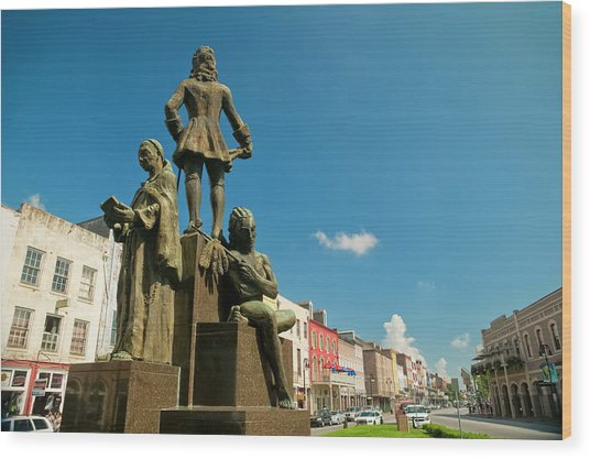 The Bienville Monument New Orleans Wood Print by Andria Patino