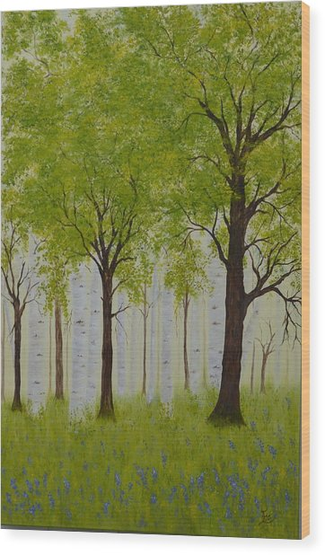 The Birch Grove Wood Print