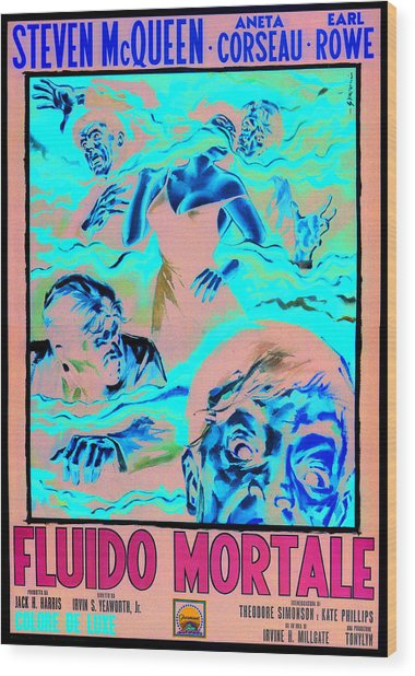 The Blob, Italian Poster Art, 1958 Wood Print by Everett