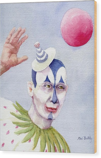 The Blue Clown Wood Print by Mimi Boothby