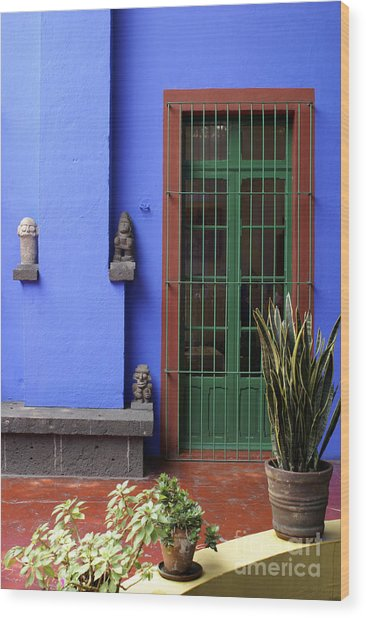 The Blue House Mexico City Wood Print