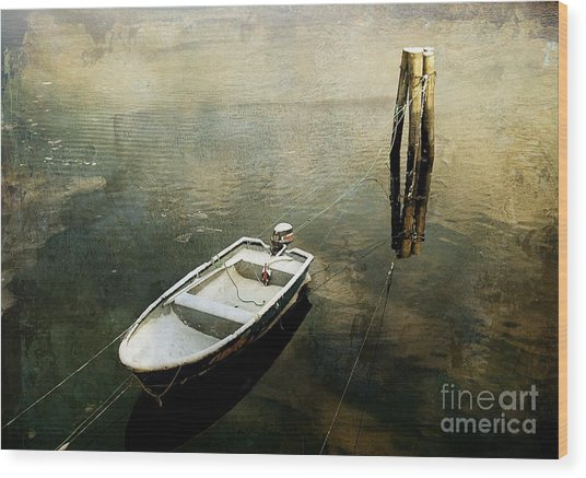 The Boat In Winter Wood Print