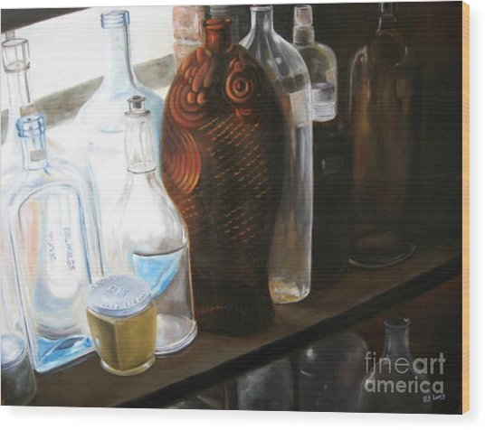 The Bottles  Wood Print by Patricia Lang