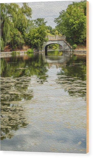 The Bridge On The Pond. Wood Print
