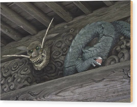 The Carved Shrine Dragon Wood Print
