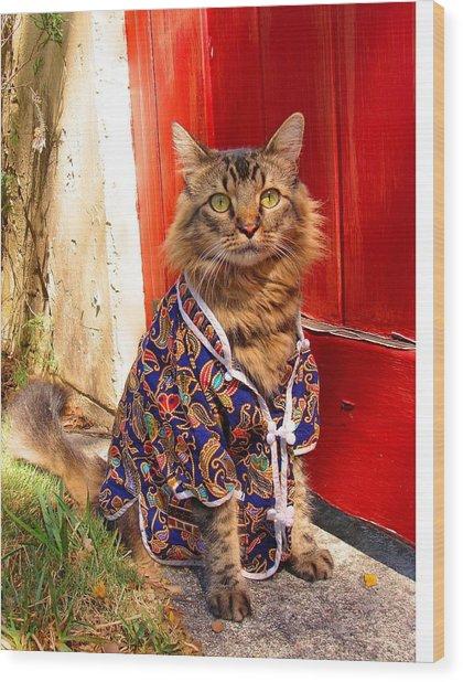 The Cat's Pajamas Wood Print by Joann Biondi