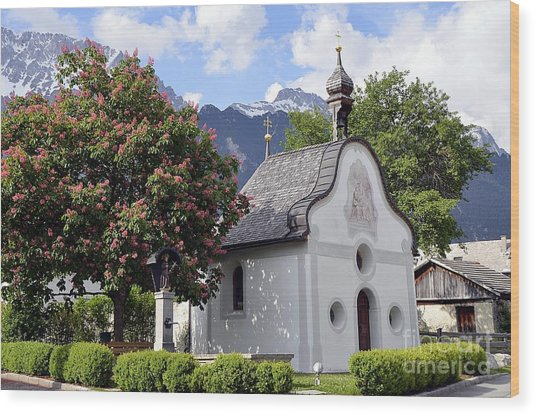 The Chapel In Alps Wood Print