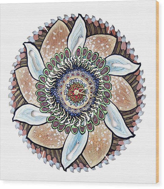 The Chris-can-themum Wall Clock Wood Print by Jessica Sornson