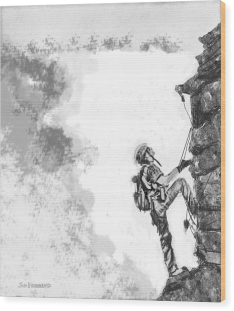 The Climber Wood Print by Jim Hubbard