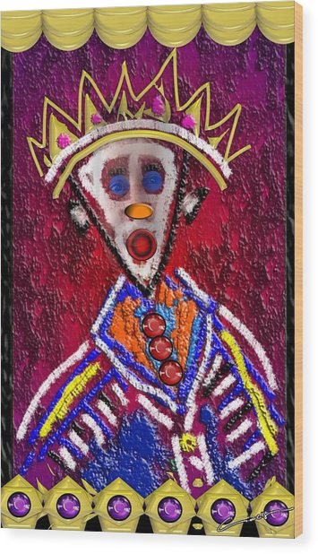 The Clown King Wood Print