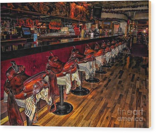 The Cowboy Bar Wood Print