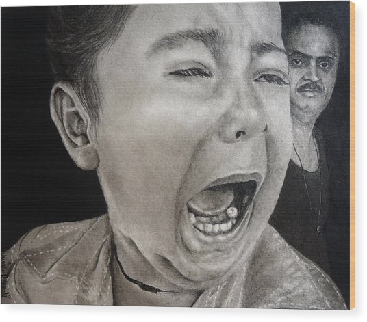 The Crying Child Wood Print