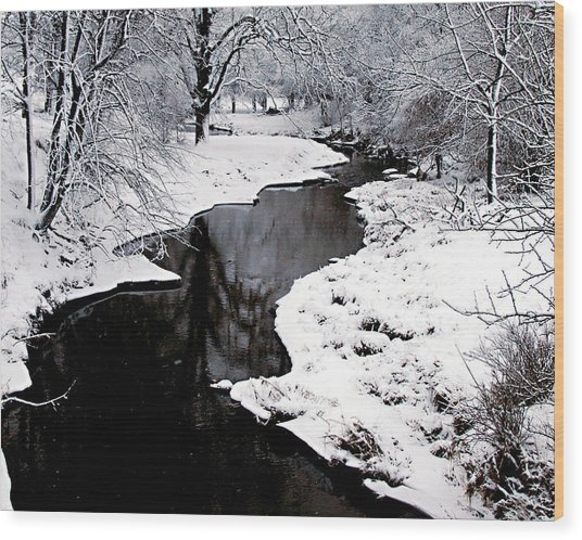 The Deep And Snowy Creek Wood Print
