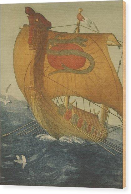 The Dragon Ship. Viking Ship At Sea Wood Print by Everett
