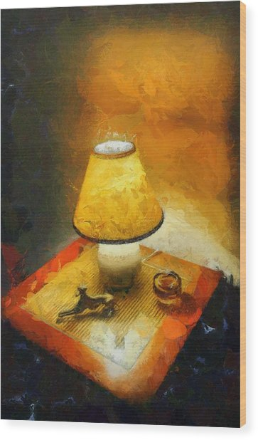 The Evening Lamp Wood Print