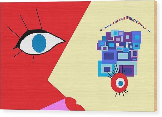 The Eyes Meet Wood Print by Miriam Lopez