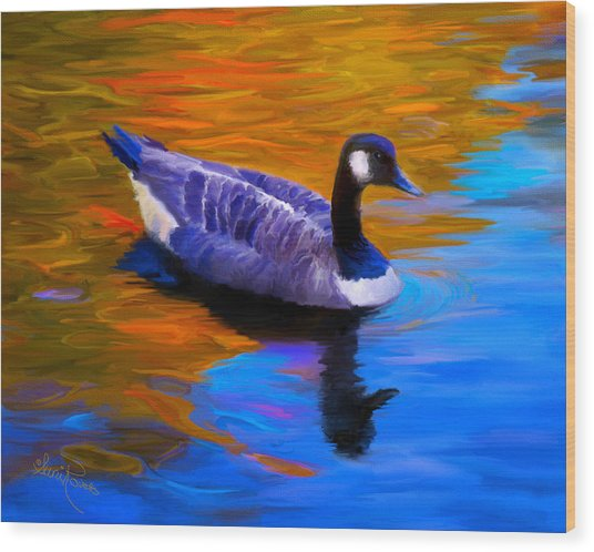 The Fall Goose Wood Print by Suni Roveto