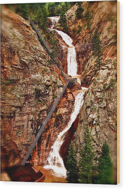 The Falls Wood Print by Amber Hennessey