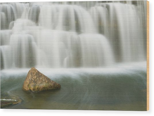 The Falls Rock Wood Print