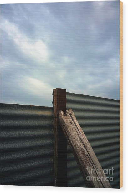 The Fence The Sky And The Beach Wood Print
