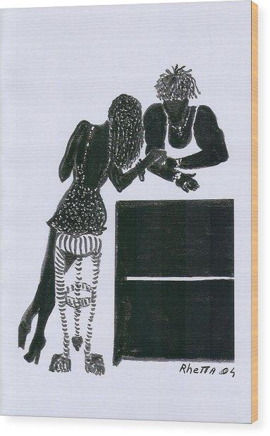 The Flirt Wood Print by Rhetta Hughes