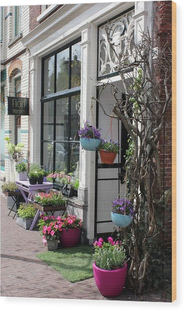 The Flower Shop Wood Print by Tia Anderson-Esguerra