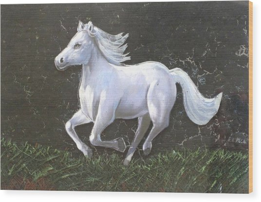 The Galloping Horse- Wood Print by Rejeena Niaz