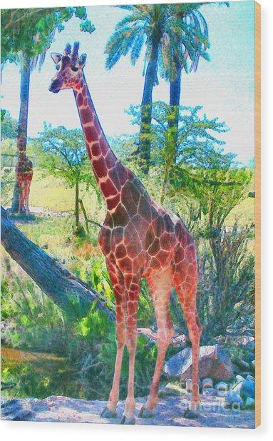 The Gentle Giraffe Wood Print