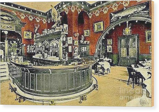 The Gentleman's Cafe And Bar In The Hotel Navarre Wood Print by Dwight Goss