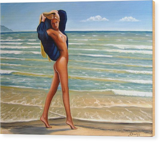 The Girl On The Beach Wood Print by Dimitris Papadakis