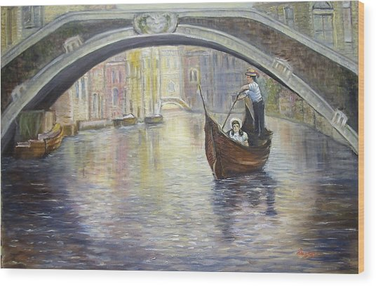 The Gondolier Venice Italy Wood Print