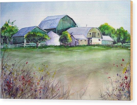 The Green Barn Wood Print
