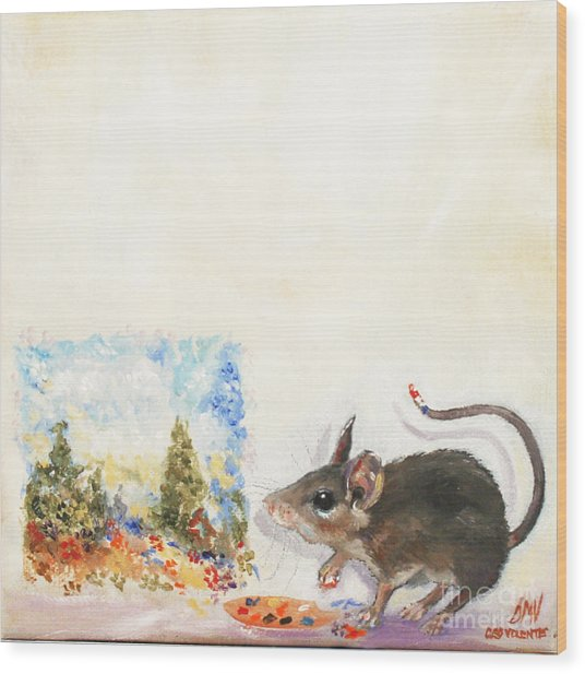 The Impressionist Mouse Wood Print by Stella Violano