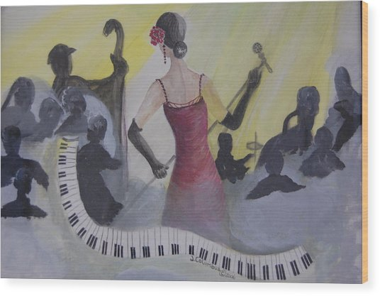 The Lady And Jazz Wood Print by Janna Columbus