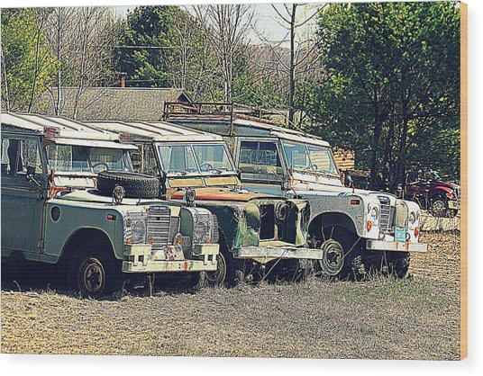 The Land Rover Graveyard Wood Print