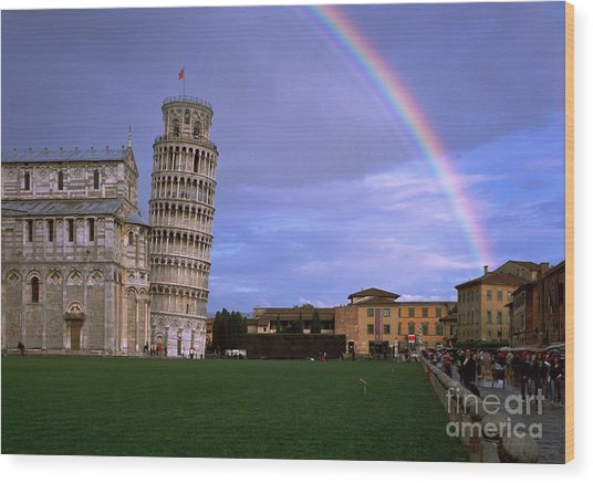 The Leaning Tower Of Pisa Wood Print by Serge Fourletoff