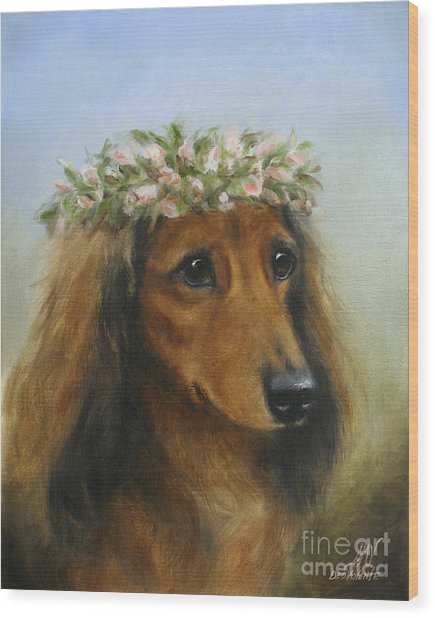 The Little Flower Girl Wood Print by Stella Violano