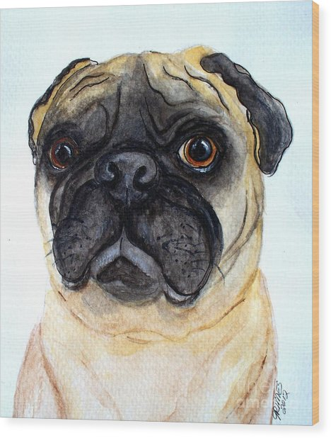 The Little Pug Wood Print