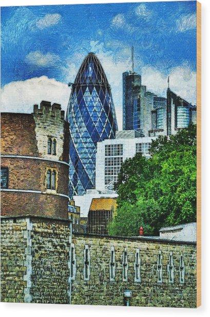The London Gherkin  Wood Print